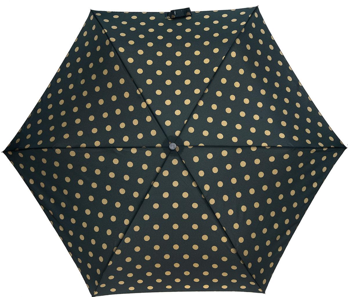 Зонт женский Cath Kidston Minilite, механический, 3 сложения, цвет: темно-зеленый, бежевый. L768-2850Колье (короткие одноярусные бусы)Стильный механический зонт Cath Kidston Minilite в 3 сложения даже в ненастную погоду позволит вам оставаться элегантной. Облегченный каркас зонта выполнен из 8 спиц из фибергласса и алюминия, стержень также изготовлен из алюминия, удобная рукоятка - из пластика. Купол зонта выполнен из прочного полиэстера. В закрытом виде застегивается хлястиком на липучке. Яркий оригинальный принт в горох поднимет настроение в дождливый день.Зонт механического сложения: купол открывается и закрывается вручную до характерного щелчка.На рукоятке для удобства есть небольшой шнурок, позволяющий надеть зонт на руку тогда, когда это будет необходимо. К зонту прилагается чехол с небольшой нашивкой с названием бренда. Такой зонт компактно располагается в кармане, сумочке, дверке автомобиля.
