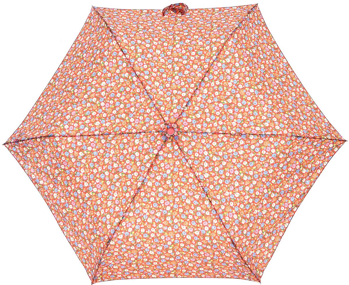 Зонт женский Cath Kidston Minilite, механический, 3 сложения, цвет: коралловый, мультиколор. L768-3140REM12-CAM-GREENBLACKСтильный механический зонт Cath Kidston Minilite в 3 сложения даже в ненастную погоду позволит вам оставаться элегантной. Облегченный каркас зонта выполнен из 8 спиц из фибергласса и алюминия, стержень также изготовлен из алюминия, удобная рукоятка - из пластика с каучуковым покрытием. Купол зонта выполнен из прочного полиэстера и оформлен мелким цветочным принтом. В закрытом виде застегивается хлястиком на липучку. Зонт механического сложения: купол открывается и закрывается вручную до характерного щелчка. На рукоятке для удобства есть небольшой шнурок, позволяющий при необходимости надеть зонт на руку. К зонту прилагается чехол.Такой зонт компактно располагается в глубоком кармане, сумочке, дверке автомобиля.