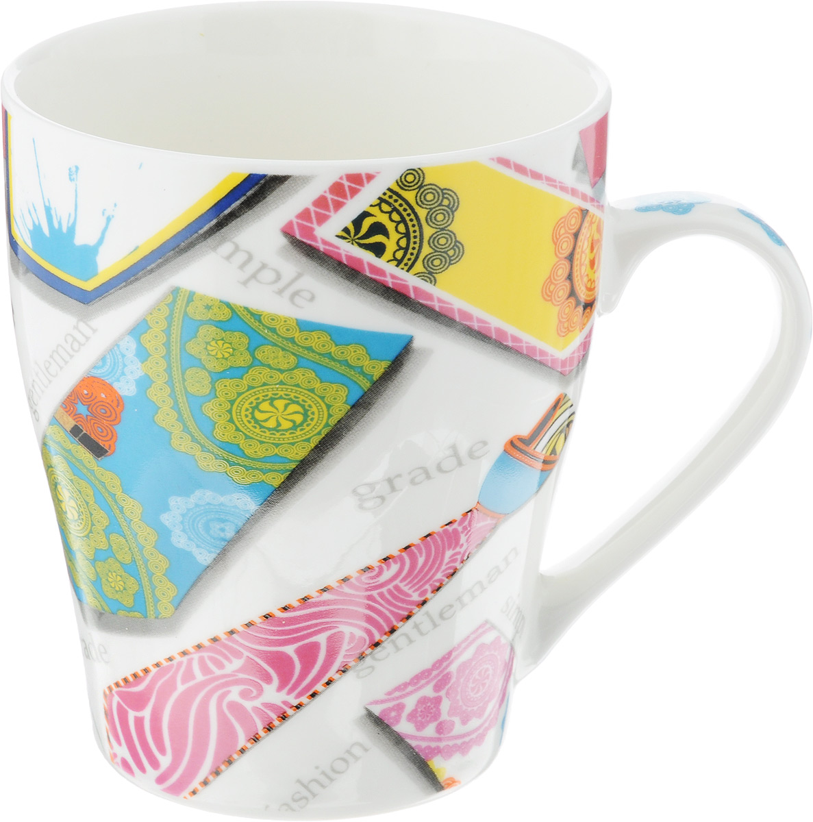 Кружка Loraine Галстук, цвет: белый, желтый, розовый, 340 мл24461_розовыйОригинальная кружка Loraine Галстук выполнена из высококачественного костяного фарфора и оформлена красочным принтом. Она станет отличным дополнением к сервировке семейного стола и замечательным подарком для ваших родных и друзей.Диаметр кружки (по верхнему краю): 8,5 см.Высота кружки: 10 см.