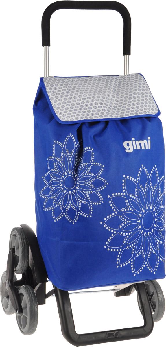 Сумка-тележка Gimi Tris Floral, цвет: синий, белый, 56 л09840-20.000.00Хозяйственная сумка-тележка Gimi Tris Floral выполнена из высококачественного полиэстера со стальным каркасом. Она оснащена одним вместительным отделением, закрывающимся на шнурок. Снаружи имеется карман на застежке-молнии и маленькая ручка для пристегивания к тележке супермаркета. Сумка водоустойчива, оснащена тремя парами колес, которые обеспечивают удобство транспортировки. Для компактного хранения сумку можно сложить. Максимальная нагрузка: 30 кг.