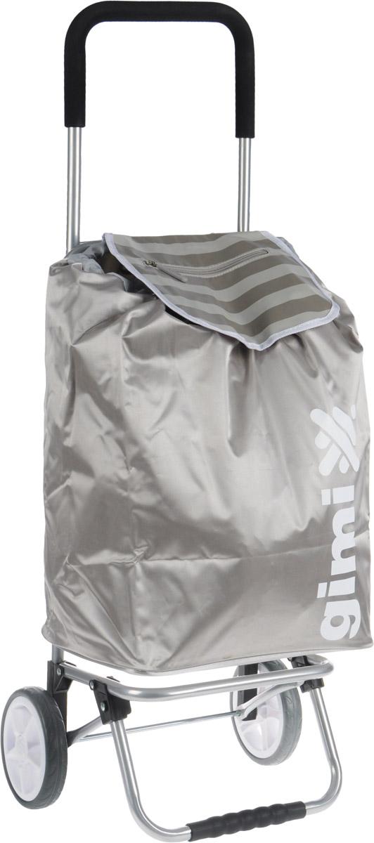 Сумка-тележка Gimi Flexi, цвет: серый, 45 лGC204/30Хозяйственная сумка-тележка Gimi Flexi выполнена из высококачественного полиэстера со стальным каркасом. Она оснащена одним вместительным отделением, закрывающимся на шнурок. Снаружи имеются два кармана на застежке-молнии и маленькая ручка для пристегивания к тележке супермаркета. Сумка водоустойчива, оснащена парой колес, которые обеспечивают удобство транспортировки. Для компактного хранения сумку можно сложить. Максимальная нагрузка: 30 кг.