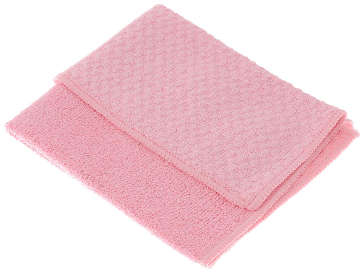 Салфетка универсальная Чистюля, цвет: розовый, 35 х 40 см38520Универсальная салфетка Чистюля, изготовленная из микрофибры (полиэстер и полиамид), предназначена для сухой и влажной уборки помещений. Два полимера работают как пылесос: притягивают влагу, жир, грязь и удерживают их в порах.Салфетка одним движением очищает грязь, поэтому поверхность не нужно протирать несколько раз. Одним-двумя взмахами очищает поверхность от моющего средства без пены и разводов, избавляя от необходимости несколько раз промывать поверхность и споласкивать салфетку. Это важно при мытье плиты, ванны, раковины. Для особо стойких загрязнений можно использовать небольшое количество моющего средства. Можно использовать и сухую салфетку: против пыли, следов пальцев, для оптики, полированных поверхностей электроприборов. Идеальна для поверхностей, которые нельзя мыть (только протирать): бытовая техника, выключатели, розетки, провода. Салфетка двухфактурная: махровая сторона лучше впитывает, а вафельная - лучше отчищает грязь. Изделие обладает высокой износоустойчивостью и рассчитано на многократное использование.Можно стирать с любым моющим средством без кондиционера при температуре до 60°С.