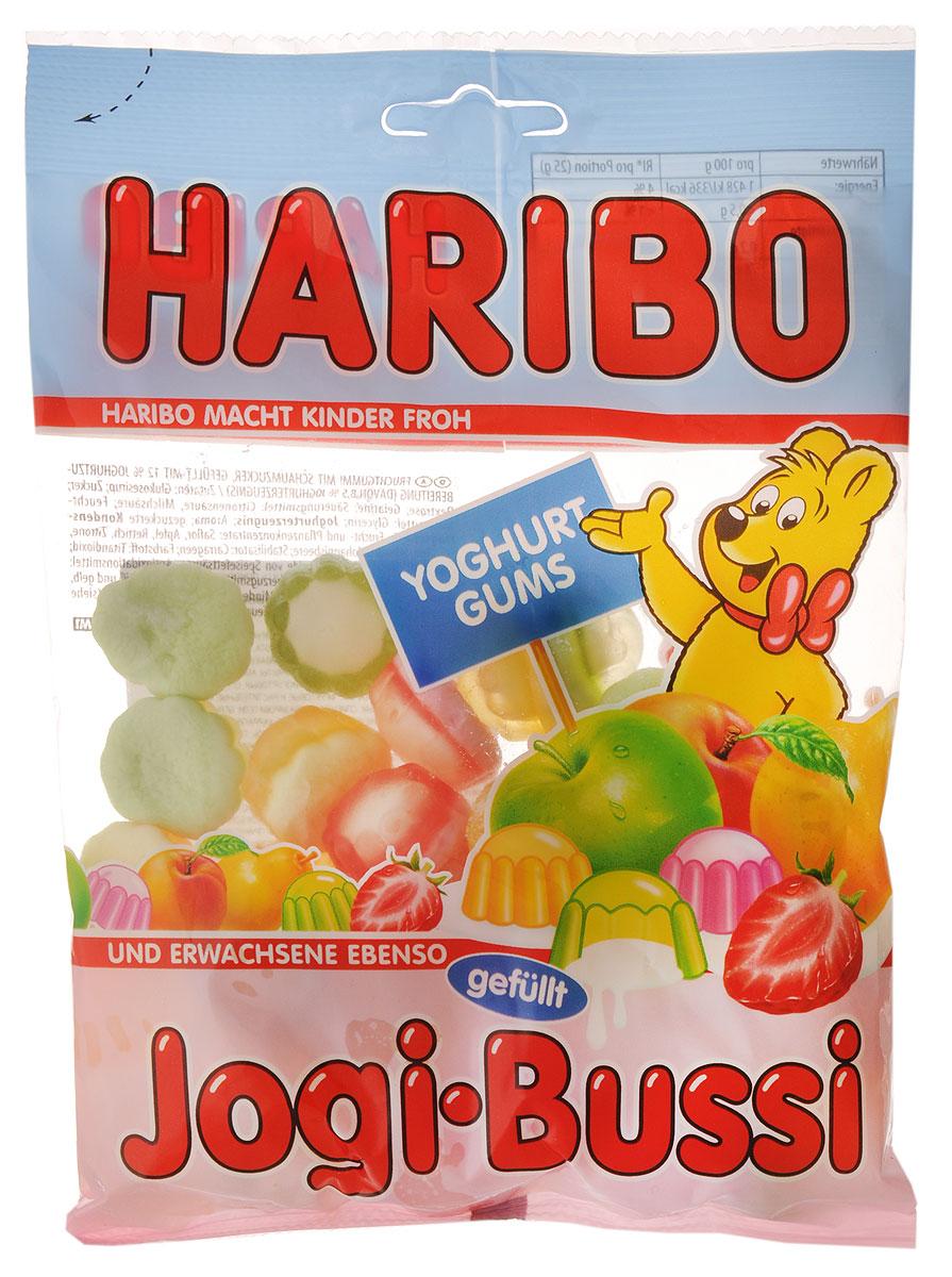 Haribo Jogi-Bussi жевательный мармелад, 200 г37503Нежный йогурт на пенной сахарной подушечке под прозрачным колпачком из ароматного фруктового мармелада - три вкусных удовольствия в каждой конфетке Jogi-Bussi от Haribo!Уважаемые клиенты! Обращаем ваше внимание, что полный перечень состава продукта представлен на дополнительном изображении.
