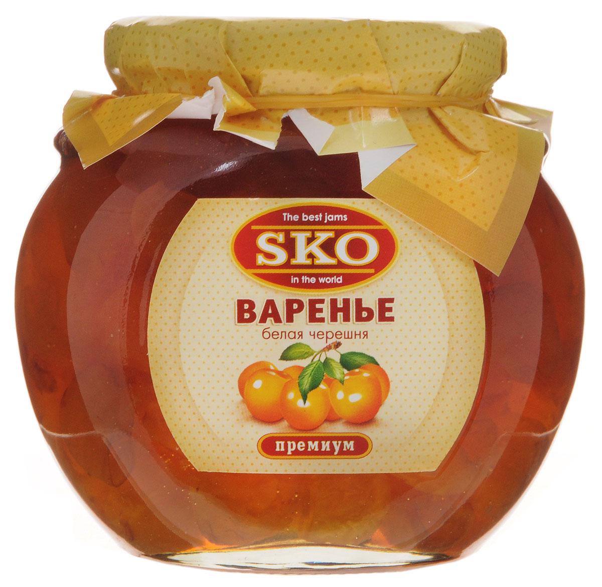 SKO варенье из белой черешни, 400 г0120710Варенье из белой черешни SKO - армянское варенье, приготовленное по домашним рецептам и современным технологиям, не содержит пектина. Может использоваться для приготовления пирогов, тортов и других разнообразных десертов, а также в качестве самостоятельного лакомства.Варенье из сладких и мясистых плодов белой черешни получается просто изумительным. Оно полезно при гипертонических болезнях, болезнях почек и печени, ревматизме, артрите, подагре, малокровии, атонии кишечника, запорах и других заболеваниях желудочно-кишечного тракта, язве желудка и двенадцатиперстной кишки, гастрите с повышенной кислотностью, расстройствах нервной системы.