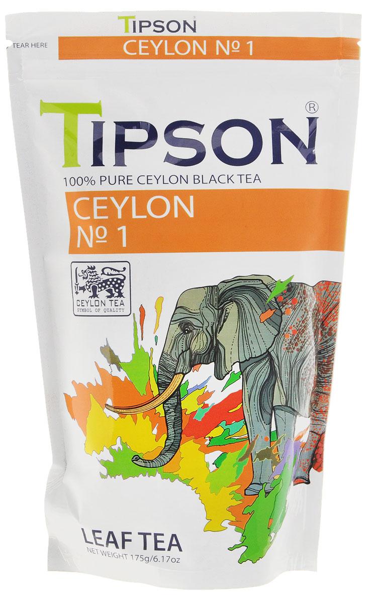 Tipson Ceylon №1 черный листовой чай, 175 г0120710Чай, произрастающий на острове Цейлон, давно признан лучшим в мире. Чай Tipson №1, в котором найден гармоничный баланс между силой вкуса и элегантностью аромата.