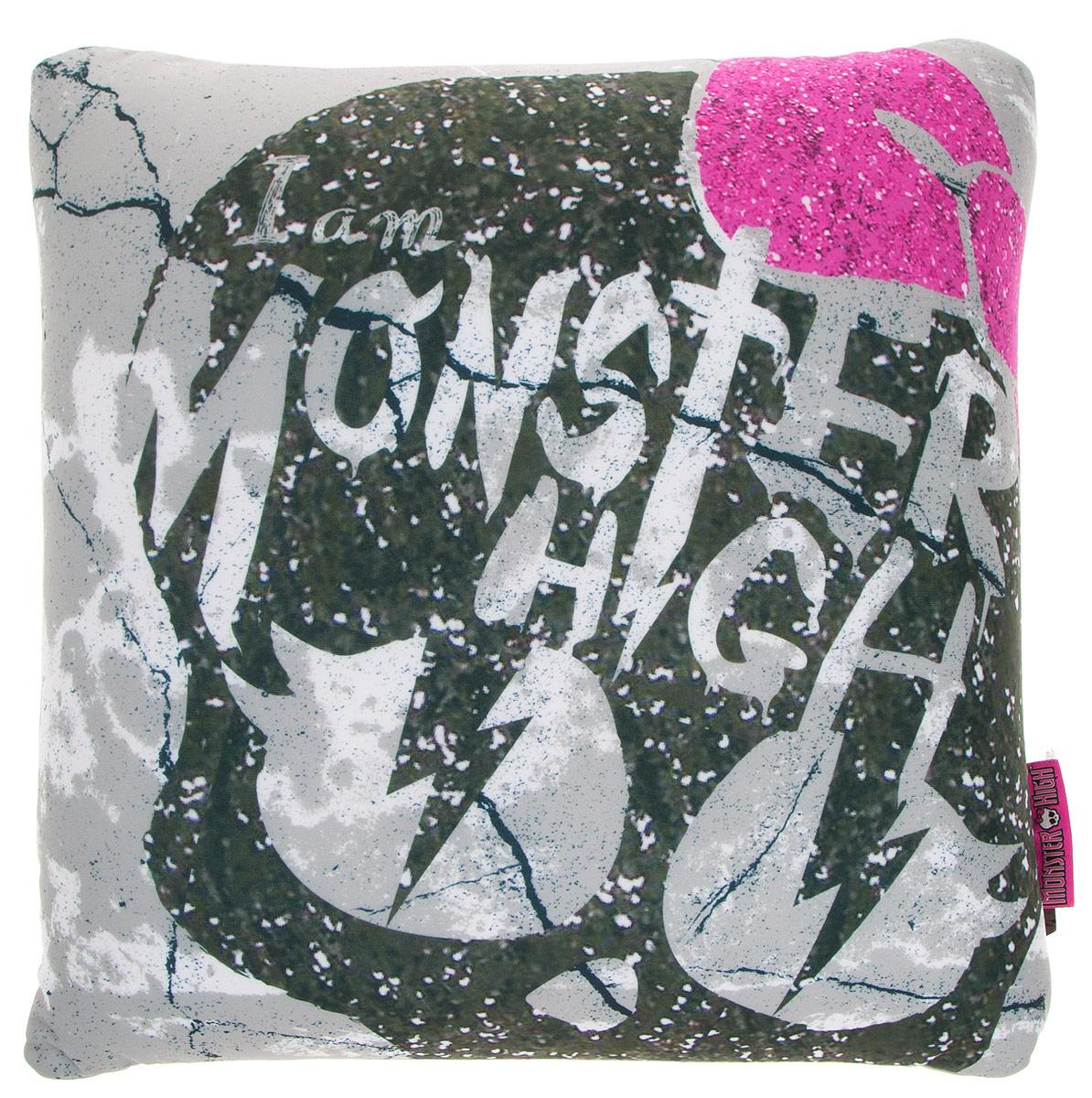 Maxi Toys Подушка Monster High цвет серый оливковый розовый531-401Яркая и оригинальная подушка Maxi Toys Monster High станет отличным аксессуаром к интерьеру любой детской комнаты! Подушка украшена принтом в стиле популярного мультсериала Monster High.Мягкую подушку можно взять с собой в путешествие - в самолете и автомобиле положить ее под голову во время отдыха, а наполнение в виде маленьких полимерных шариков будет отлично снимать стресс. Размер подушки: 32 см х 32 см х 14 см.