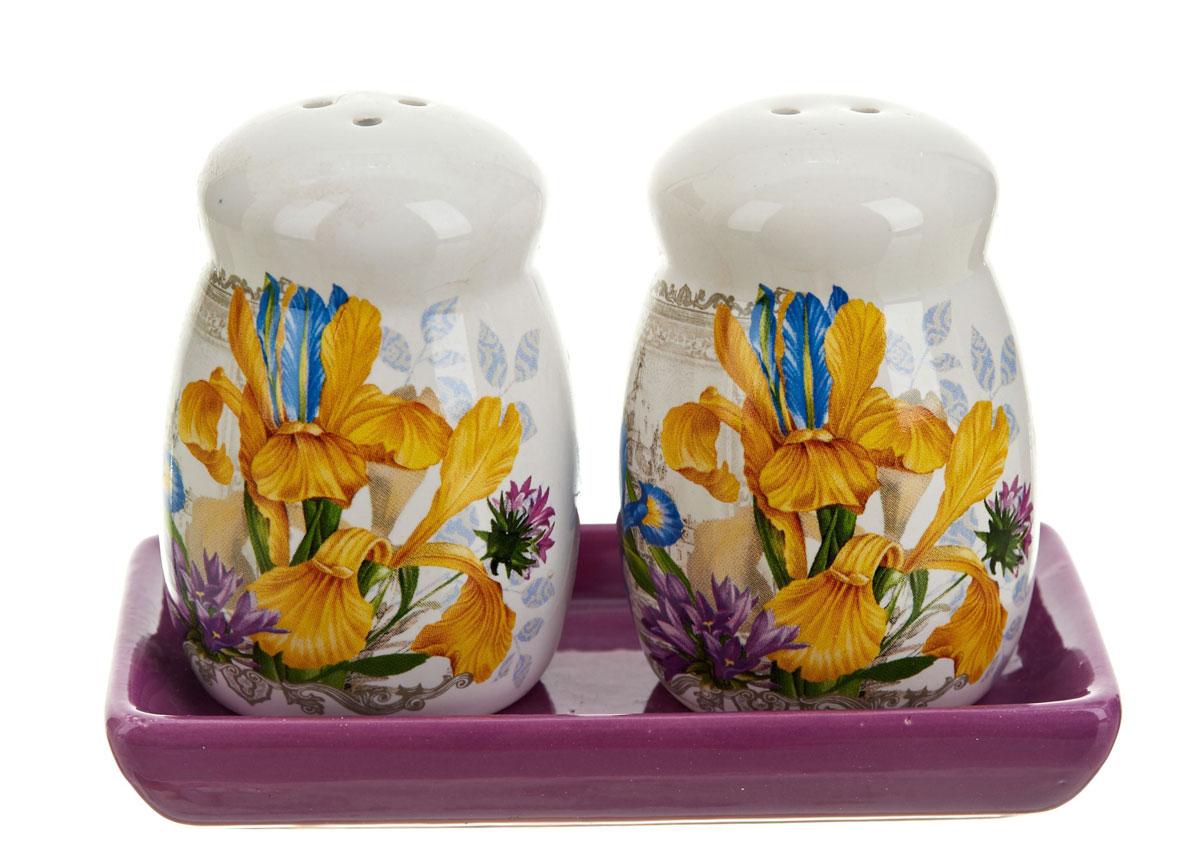 Набор для специй ENS Group Ирис, 3 предмета115510Набор Ирис для соли и перца, выполненный из керамики, благодаря своим компактным размерам не займет много места на вашей кухне. Солонка и перечница декорированы оригинальным рисунком. Набор Ирис для соли и перца станет отличным подарком каждой хозяйке.Размер набора: 11 x 5,5 x 8,5 см.