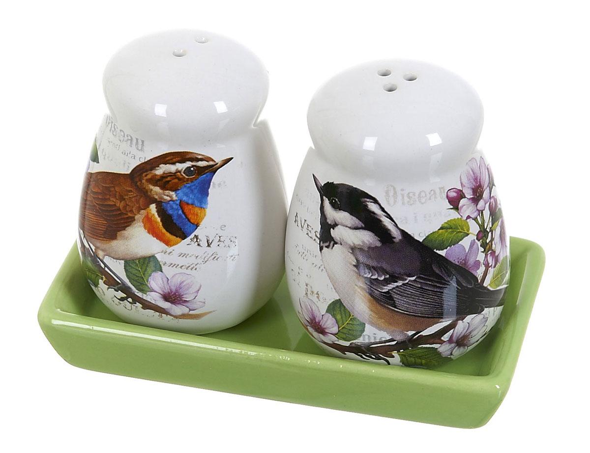 Набор для специй Polystar Birds, 3 предмета300029Набор для специй, состоящий из солонки и перечницы, на керамической подставке, изготовлен из высококачественной керамики. Изделия украшены оригинальными рисунками. Солонка и перечница легки в использовании: стоит только перевернуть емкости, и вы с легкостью сможете поперчить или добавить соль по вкусу в любое блюдо.Дизайн, эстетичность и функциональность набора позволят ему стать достойным дополнением к кухонному инвентарю.Размер набора: 12 x 6,5 x 9 см.