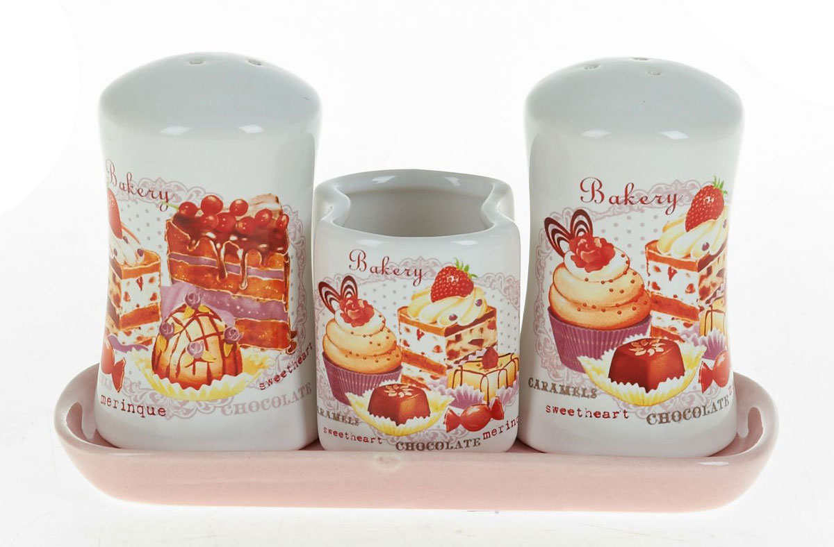 Набор для специй Polystar Бисквит, 3 предметаVT-1520(SR)Набор для специй Бисквит, состоящий из солонки, перечницы и подставки для зубочисток, изготовлен из высококачественной керамики.Изделия украшены оригинальными рисунками. Солонка и перечница легки в использовании.Размер набора: 15,5 x 6,5 x 9,5 см.
