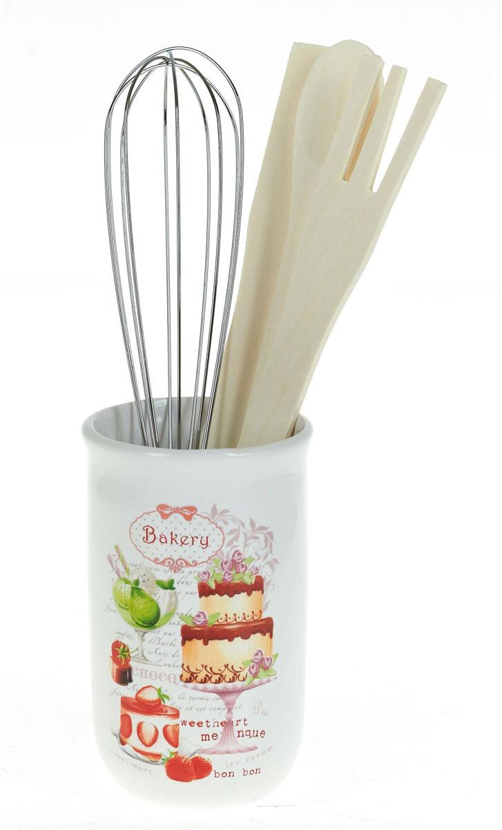 Набор кухонных принадлежностей Polystar Бисквит, 5 предметов54 009312Набор кухонных принадлежностей Polystar Бисквит поразит любого своей элегантностью и практичностью. Он обеспечит станет прекрасным украшением вашего рабочего кухонного пространства. В состав набора входит: подставка, лопатка, ложка поварская, вилка, венчик.