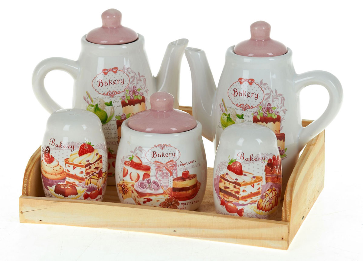 Набор для специй Polystar Бисквит, 7 предметовVT-1520(SR)Набор для специй состоящий из солонки, перечницы, сахарницы, двух кувшинчиков для масла на деревянной подставке, изготовлен из высококачественной керамики. Изделия украшены оригинальными рисунками. Солонка и перечница легки в использовании: стоит только перевернуть емкости, и вы с легкостью сможете поперчить или добавить соль по вкусу в любое блюдо.Дизайн, эстетичность и функциональность набора позволят ему стать достойным дополнением к кухонному инвентарю.Размер набора: 21,5 x 15 x 15,5 см.