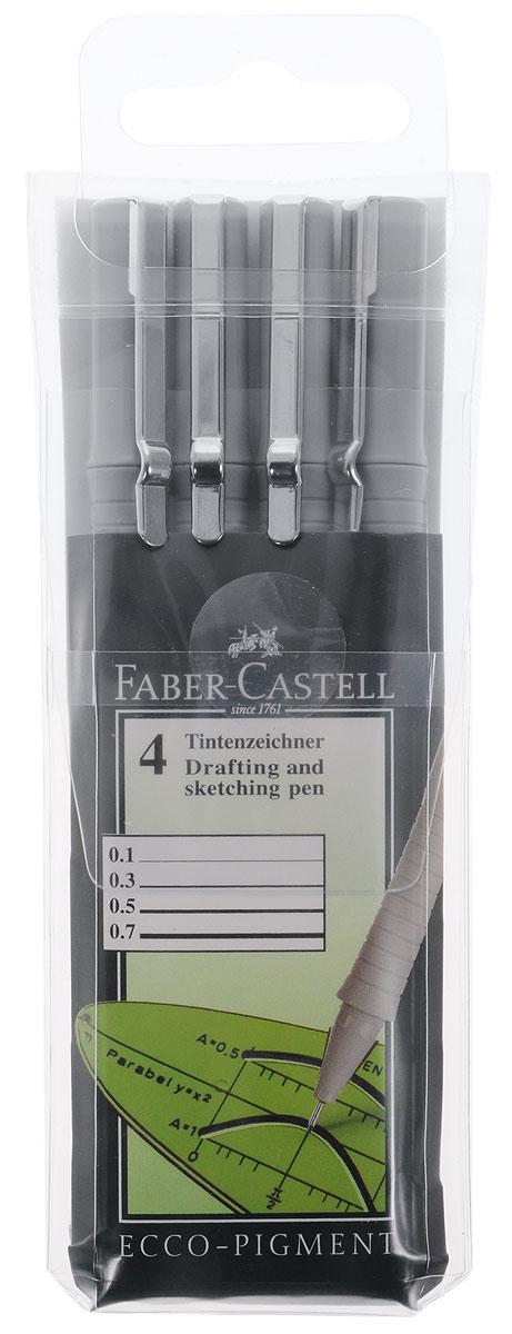 Faber-Castell Капиллярная ручка Ecco Pigment цвет чернил черный 4 шт0775B001Капиллярная ручка Faber-Castell Ecco Pigment - это профессиональная ручка для письма, черчения или рисования. Основой капиллярных ручек является синтетический стержень, который укреплен в металлической трубке с целью дальнейшего обеспечения надежной работы ручки. Он контактирует с пористым стержнем с чернилами, который находится внутри ручки. Чернила водоустойчивы. В набор входят 4 ручки с диаметром 0,1, 0,3, 0,5 и 0,7 мм.Уважаемые клиенты! Обращаем ваше внимание на возможные изменения в дизайне упаковки. Поставка осуществляется в зависимости от наличия на складе.