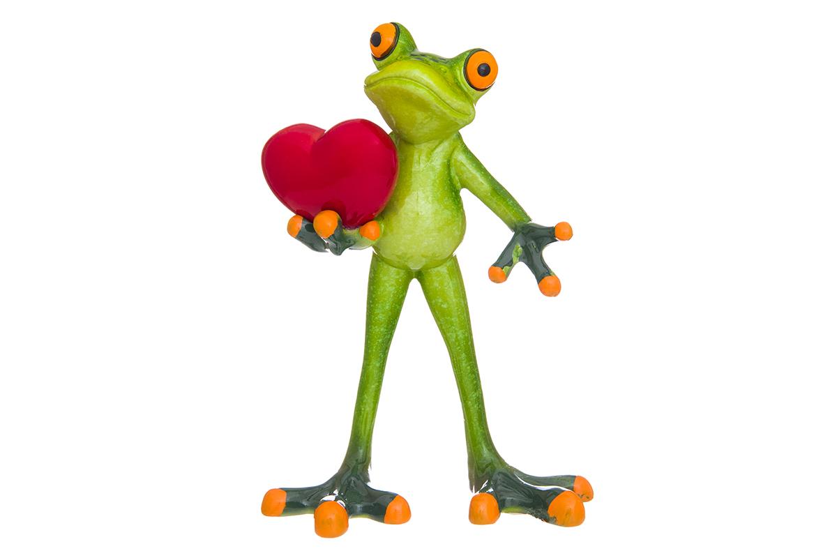 Фигурка декоративная Elan Gallery Лягушонок с сердцем, 10 х 6 х 14,5 смTHN132NДекоративные фигурки в виде забавных лягушат, изготовленные из полистоуна, станут необычным аксессуаром для вашего интерьера. Эти очаровательные вещицы станут отличным подарком Вашим друзьям и близким.