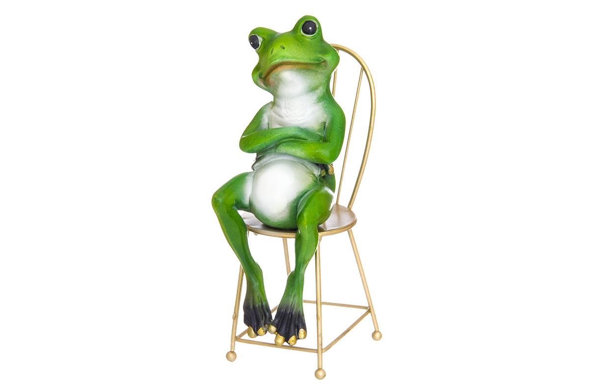 Фигурка декоративная Elan Gallery Лягушонок на стуле, 9 х 6 х 18,5 см74-0120Декоративные фигурки в виде забавных лягушат, изготовленные из полистоуна, станут необычным аксессуаром для вашего интерьера. Эти очаровательные вещицы станут отличным подарком Вашим друзьям и близким.