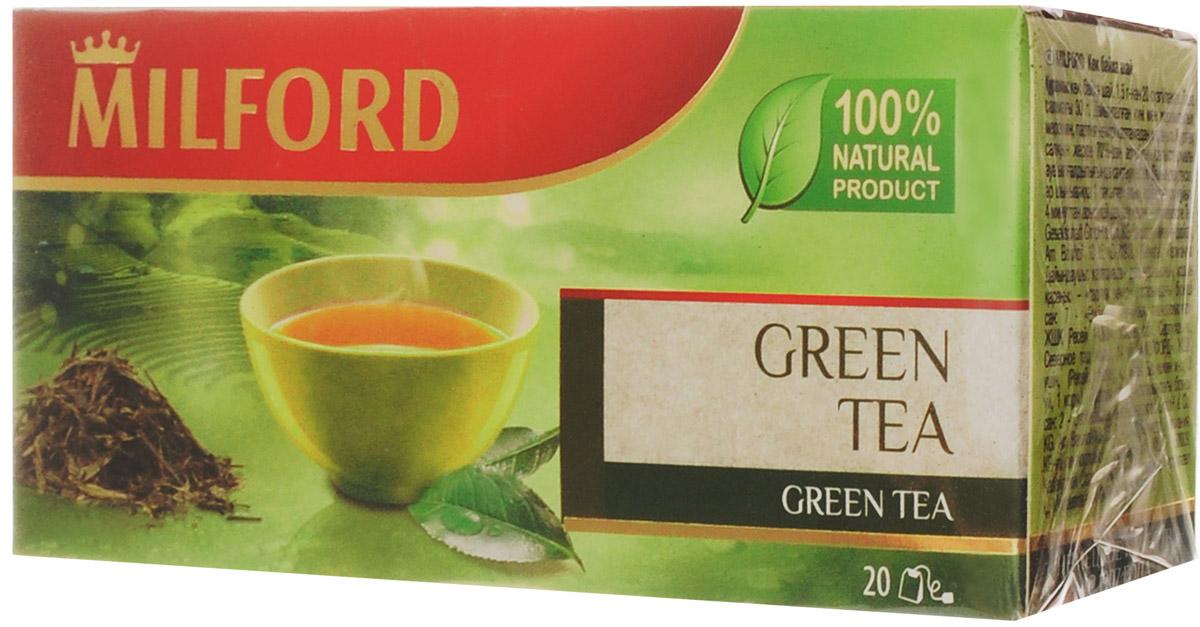 Milford чай зеленый в пакетиках, 20 штбая005рОтличный зеленый чай Milford с мягким вкусом и слегка терпким ароматом - хорошее начало дня!