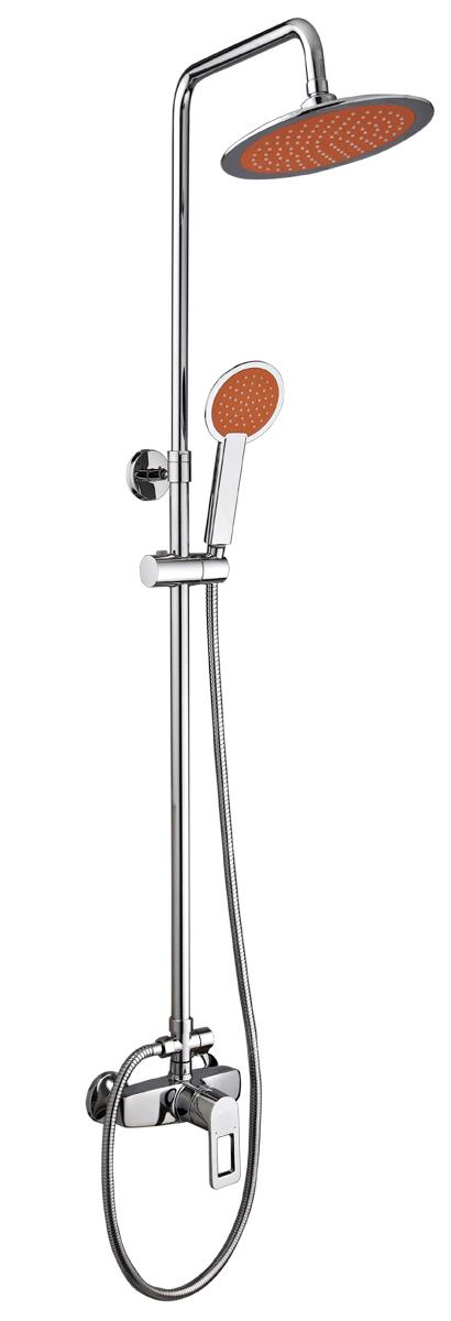 Смеситель для душа РМС, с верхней лейкой. SL80-003-3. Цвет: хромBL505Смеситель для душа с лейкой. Картридж керамический 40мм. Цвет покрытия копуса: хром. В комплекте: шланг 1,5м, лейка для душа, металлическая стойка, эксцентрики, отражатели. Особенности:- стойка металлическая- верхняя лейка-