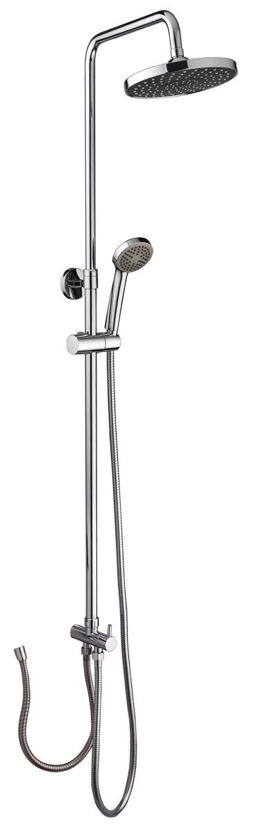 Смеситель для душа РМС, с верхней лейкой. SL80-003-5. Цвет: хром68/5/1Стойка для душа с лейкой. Цвет покрытия корпуса: хром. В комплекте: шланг 1,5м, лейка для душа, металлическая стойка. Особенности:- стойка металлическая- верхняя лейка-