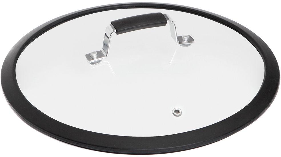 Крышка для посуды Nadoba Lota, с силиконовым ободом. Диаметр 28 смFS-91909Силиконовый обод для плотного прилегания крышки. Удобная ручка из нержавеющей стали с силиконовым покрытием, предотвращающим выскальзывание. Прочное закаленное стекло.