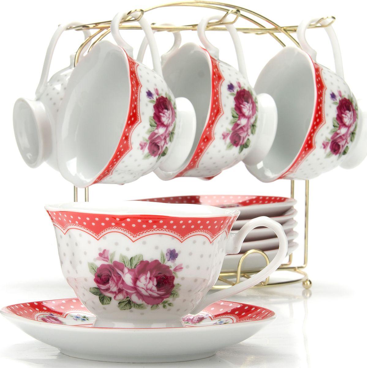 Сервиз чайный Loraine, на подставке, 13 предметов. 4329225943Чайный набор состоит из шести чашек, шести блюдец и металлической подставки. Предметы набора изготовлены из качественного фарфора и оформлены красочным рисунком. Чайный набор идеально подойдет для сервировки стола и станет отличным подарком к любому празднику. Все изделия можно компактно хранить на подставке, входящей в набор. Подходит для мытья в посудомоечной машине.Диаметр чашки: 9,5 см.Высота чашки: 6,5 см.Объем чашки: 180 мл.Диаметр блюдца: 14 см.