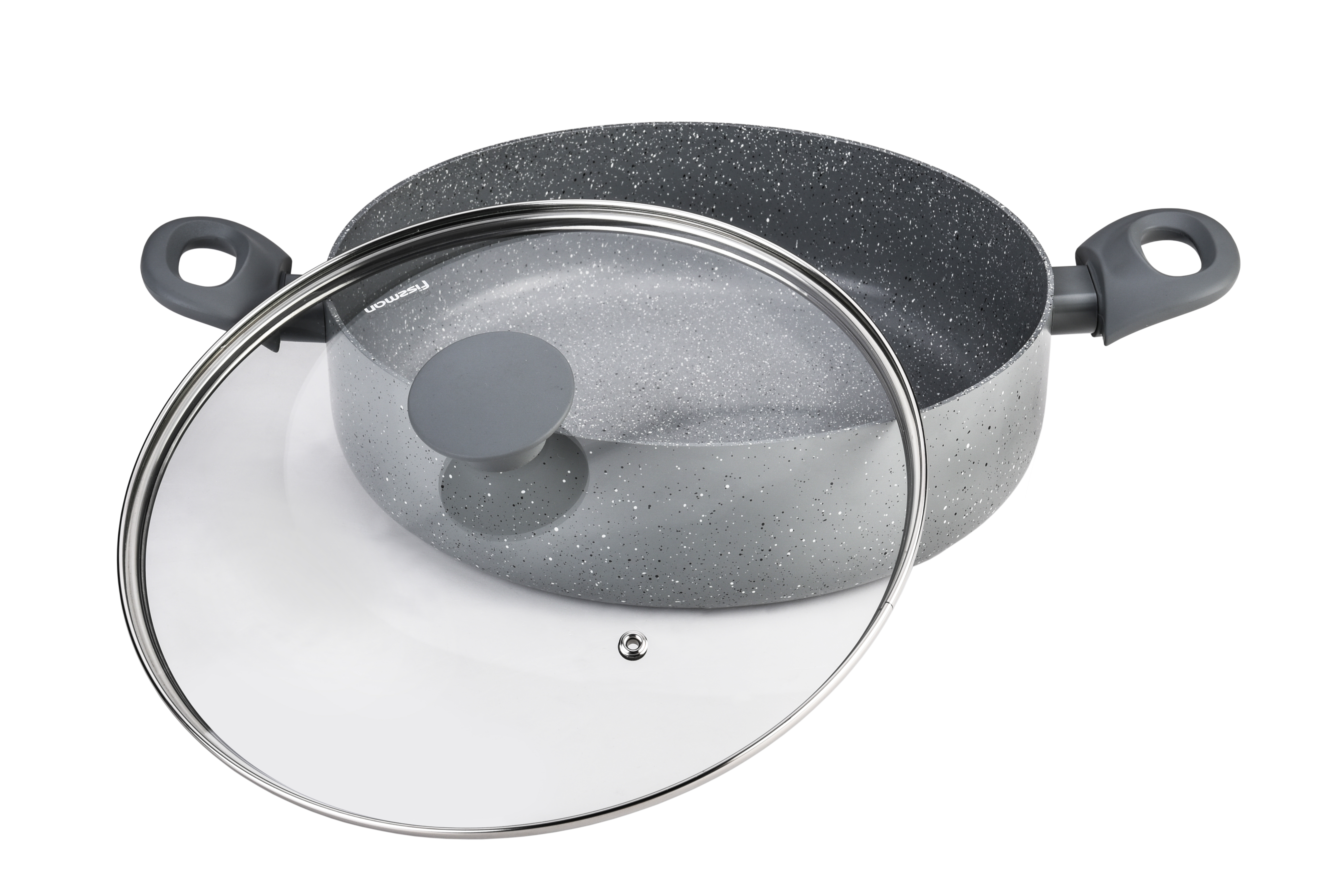 Сотейник Fissman Garda с крышкой, с антипригарным покрытием. Диаметр 24 см54 0093121 слой улучшает сцепление покрытия с металлом, 2 слой – грунтовый, 3 слой - высокопрочное антипригарное покрытие, усиленное натуральной каменной крошкой на основе минеральных компонентов, 4 дополнительный антипригарный слой с керамическими частицами.Высота стенок: 6,5 см.