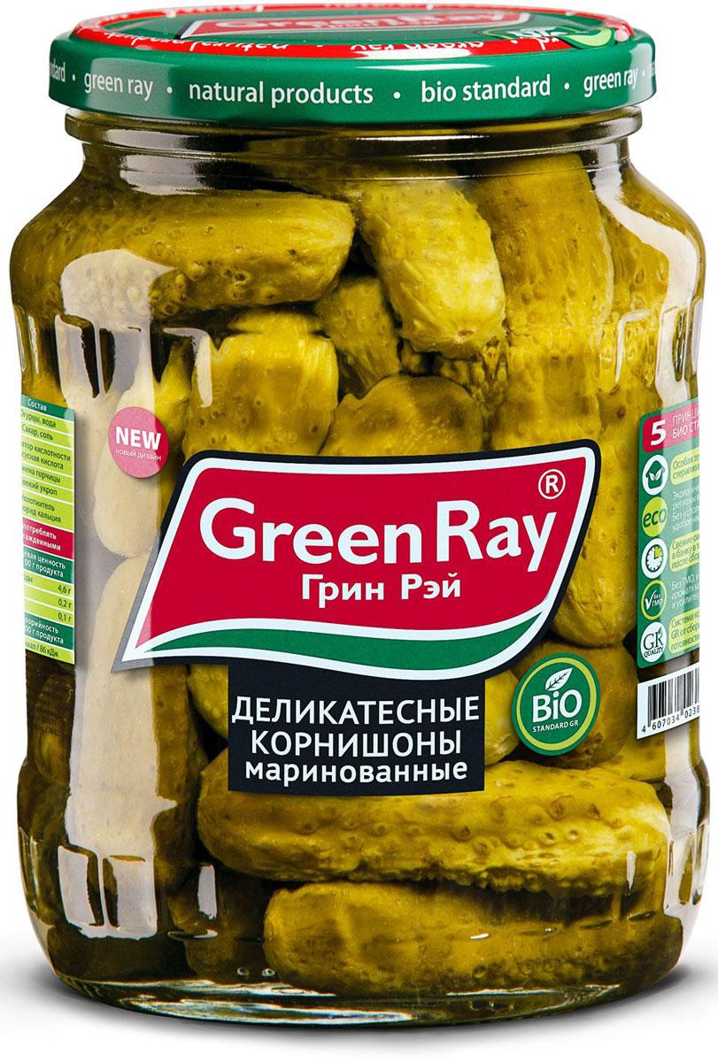 Green Ray деликатесные корнишоны маринованные, 370 мл0120710Деликатесные маринованные корнишоны Green Ray богаты витаминами и микроэлементами.Благодаря гармоничному набору специй корнишоны отличаются тонким вкусом.