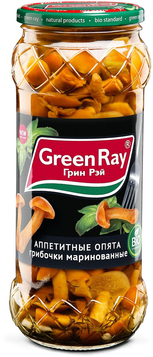 Green Ray опята маринованные, 580 мл254150Грибы Green Ray богаты белками и минералами. После обработки в процессе соления или маринада полезные свойства практически не утрачиваются.