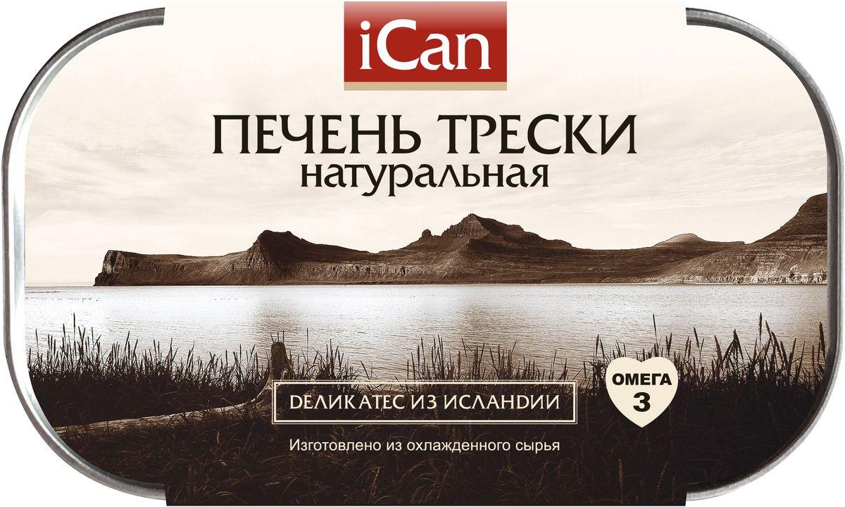 iCan печень трески натуральная, 115 г0120710Печень трески iCan является 100% натуральным продуктом, не содержит красителей и консервантов. Печень трески является источником рыбьего жира, содержит в значительном количестве ряд важных для организма человека веществ: витамины А, D, E, ненасыщенные жирные кислоты, фолиевую кислоту, белки. Все это делает печень трески незаменимым продуктом для здорового питания.