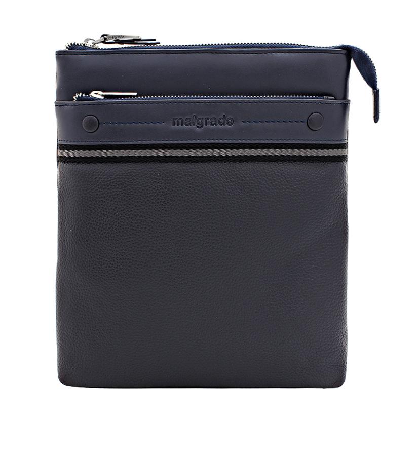 Сумка мужская Malgrado, цвет: синий. BR11-394C1836101248Мужская сумка Malgrado, выполнена из натуральной кожи синего цвета. Основное отделение закрывается железной молнией, внутри расположен вшитый кармашек на молнии, два кармашка для мелочей и телефона и фиксатор для пишущих принадлежностей. С лицевой стороны расположен вшитый кармашек на молнии. На задней стороне расположен кармашек на магнитной кнопке. Модель снабжена плечевым ремнем. Характеристики:Материал: натуральная кожа, текстиль, металл. Размер сумки: 23 см х 27 см х 5 см. Длина ремня: 70-140 см. Цвет: синий.