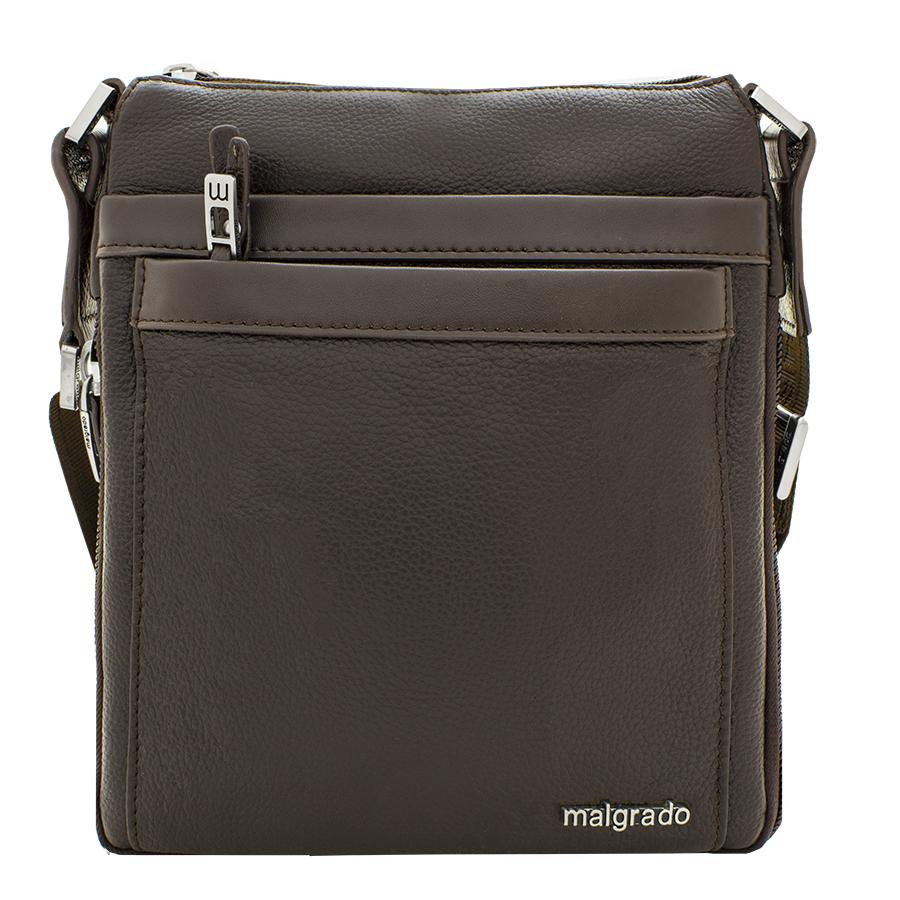 Сумка мужская Malgrado, цвет: коричневый. BR10-538C18363-47660-00504Стильная мужская сумка Malgrado выполнена из натуральной кожи с зернистой фактурой, оформлена металлической фурнитурой с символикой бренда.Сумка содержит одно отделение, которое закрывается на застежку-молнию. Внутри изделия расположены: врезной карман на застежке-молнии и органайзер, состоящий из двух накладных карманов и двух кожаных фиксаторов для письменных принадлежностей. Снаружи, на задней стороне сумки, расположен врезной карман на молнии. Лицевая сторона сумки дополнена накладным карманом на магнитной кнопке и накладным карманом на молнии. Сумка оснащена съемным плечевым ремнем регулируемой длины, который позволит носить изделие, как в руках, так и на плече. Дно и боковые стороны сумки оснащены молнией, которая позволит увеличить объем основного отделения.Практичный аксессуар позволит вам завершить образ и подчеркнуть деловой стиль.