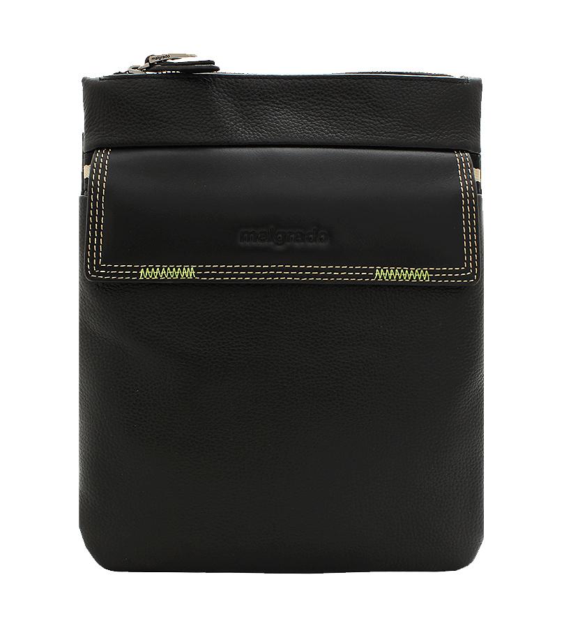 Сумка мужская Malgrado, цвет: черный. BR09-673C24268-2Стильная мужская сумка Malgrado выполнена из натуральной кожи с зернистой фактурой и оформлена металлической фурнитурой, а также символикой бренда.Изделие содержит одно основное отделение, которое закрывается на молнию. Внутри сумки размещен врезной карман на молнии. Снаружи, на тыльной стороне сумки, расположен накладной карман, закрывающийся на магнит. На лицевой стороне сумки расположен накладной карман, который закрывается клапаном на магниты. Изделие дополнено практичным плечевым ремнем регулируемой длины.Функциональная и вместительная, такая сумка поможет не только уместить все необходимые вещи, но и станет модным аксессуаром, который идеально дополнит ваш образ.