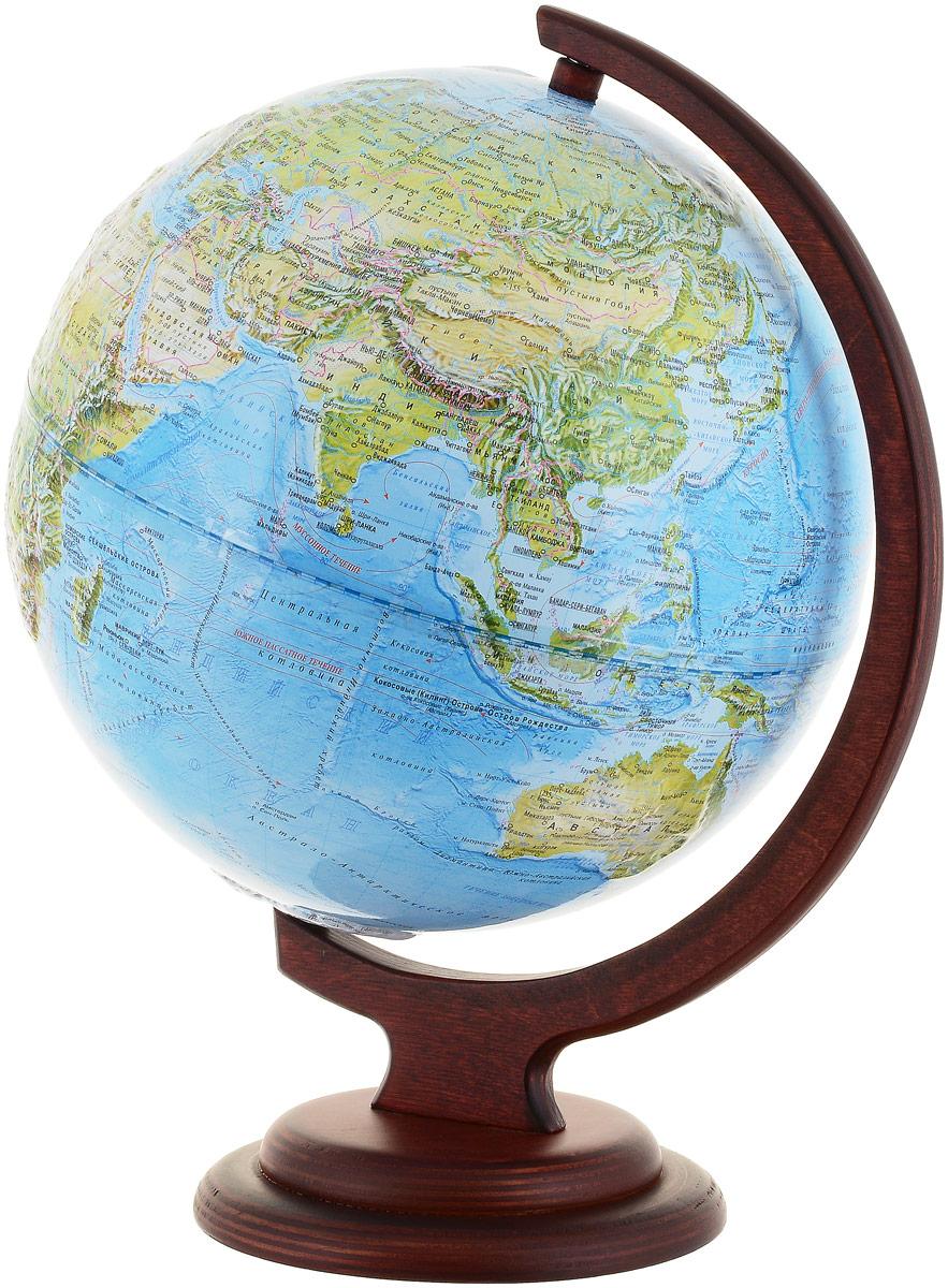 Глобусный мир Ландшафтный глобус, рельефный, диаметр 25 см, на деревянной подставкеFS-00897Ландшафтный глобус Глобусный мир, изготовленный из высококачественного прочного пластика.Данная модель предназначена для ознакомления с особенностями ландшафта нашей планеты. Помимо этого ландшафтный глобус обладает приятной цветовой гаммой. Глобус дает представление о местоположении материков и океанов, на нем можно рассмотреть особенности ландшафта нашей планеты (рельефы местности, леса, горы, реки, моря, структуру дна океанов, рельеф суши), можно увидеть графическое изображение географических меридианов и параллелей, гидрографическая сеть, а также крупнейшие населенные пункты. На глобусе имеются направления и названия подводных течений. Модель имеет рельефную выпуклую поверхность, что, в свою очередь, делает глобус особенно интересным для детей младшего школьного и дошкольного возрастов. Названия стран на глобусе приведены на русской язык. Изделие расположено на красивой деревянной подставке, что придает этой модели подарочный вид.Настольный глобус Глобусный мир станет оригинальным украшением рабочего стола или вашего кабинета. Это изысканная вещь для стильного интерьера, которая станет прекрасным подарком для современного преуспевающего человека, следующего последним тенденциям моды и стремящегося к элегантности и комфорту в каждой детали.Масштаб: 1:50 000 000.