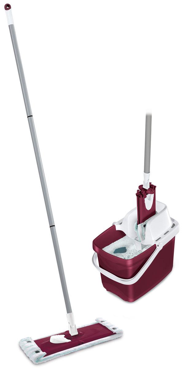 Комплект для уборки Leifheit Combi Clean, цвет: бордовый, 3 предмета787502Комплект Leifheit Combi Clean состоит из ведра с сеткой для отжима, швабры Twist с возможностью вращения и насадки-тряпки Micro Duo. Такой комплект станет отличным вариантом для быстрой и качественной уборки. Особая структура поверхности насадки с разноуровневыми волокнами обеспечивает глубокую очистку гладких поверхностей и всех встречающихся неровностей: впадин, зазоров, микротрещин. При этом специфическое расположение насадки на платформе позволяет одновременно удалять загрязнения из углов и с плинтусов.Шарнирное соединение платформы и рукоятки предоставляет возможность выбора наиболее удобного наклона ручки в ходе уборки, что требуется при мытье труднодоступных мест. Простое и удобное использование отжимного устройства избавляет от необходимости постоянно нагибаться и позволяет сохранить руки сухими и чистыми.Длина платформы: 33 см