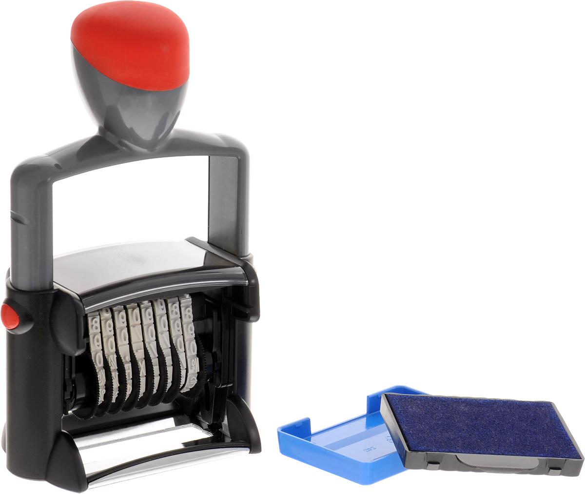 Trodat Нумератор восьмиразрядный 5 ммFS-00897Нумератор Trodat имеет прочный корпус с удобной рукояткой и металлическим каркасом.Автоматическое окрашивание. Кольцевые ленты с цифрами. Номер устанавливается и изменяется вручную.Высота цифр - 5 мм, сменная подушка - код С03880. Восьмиразрядный.