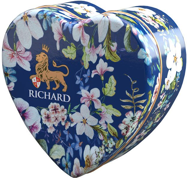 Richard Royal Heart черный крупнолистовой чай с добавками, 30 г101246Маленький милый подарок даме в знак внимания на каждый день в исполнении английского цветочного орнамента. Чай черный цейлонский крупнолистовой, с ароматом цедры апельсина, бергамота, ванили и лепестками василька.