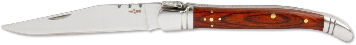 Нож складной Ножемир Четкий расклад, нержавеющая сталь, общая длина 19,7 см. C-17167742Классический складной нож Ножемир Четкий расклад подойдет для продолжительных походов на природу, либо как дублирующий нож для основного. Лезвие с зеркальной полировкой выполнено из нержавеющей стали. Рукоять изготовлена из стабилизированного дерева. Фиксатор предотвращает нежелательно сложение изделия. Небольшие размеры в сложенном виде обеспечивают легкую транспортировку ножа.Общая длина ножа: 19,7 см.Твердость стали: 55-56 HRC.