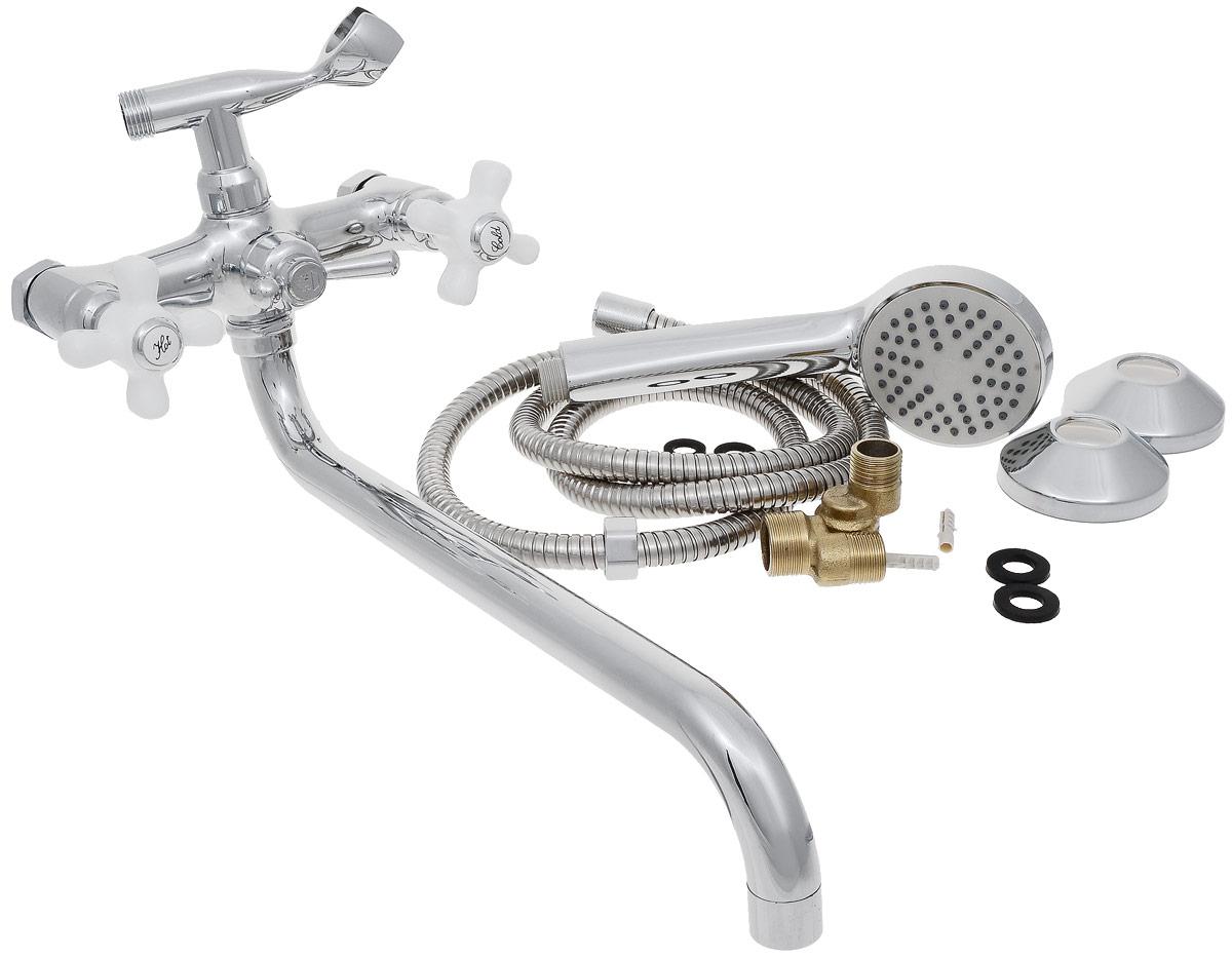 Смеситель для ванны и душа РМС, с длинным поворотным изливом, цвет: хром. SL69-14326684Двуручковый смеситель для ванной комнаты РМС предназначен для смешивания холодной и горячей воды. Выполнен из высококачественной латуни повышенной прочности, устойчивой к коррозии. Кран-букса латунная с керамическими пластинами, угол поворота 180°. Оснащен длинным изливом. Переключение на душ - шаровое. Аэратор выполнен из пластика. В комплекте: эксцентрики, отражатели, металлический шланг для душа 1,5 м, лейка для душа.Максимальное давление: 10 бар.Испытательное давление: 16 бар.Рекомендуемое давление: 1-5 бар, при давлении выше 6 бар рекомендуется использовать регулятор давления.Максимально допустимая температура: +80°С.Рекомендуемая температура: +65°С.Размер присоединения к угловому вентилю для умывальника: гайка 1/2.Кран-букса керамическая: 1/2.Длина излива: 35 см.