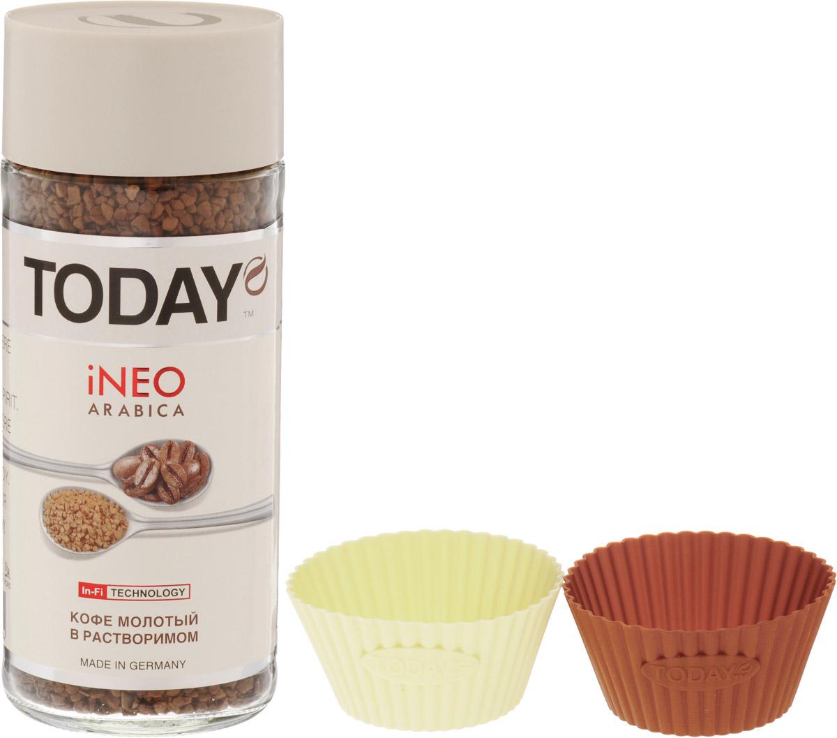 Today In-Fi кофе растворимый, 95 г + набор для выпечки0120710Для создания великолепного кофе Today In-Fi использовались лишь отборные зерна средней обжарки. Молотый кофе внутри растворимого дарит аромат и вкус свежесваренного кофе.В комплекте предусмотрен набор для выпечки со следующими цветовыми сочетаниями: кремовый + зеленый, кремовый + коричневый, кремовый + красный. УВАЖАЕМЫЕ КЛИЕНТЫ! Обращаем ваше внимание на возможные варианты цвета формочек для выпечки. Поставка осуществляется в зависимости от наличия на складе.
