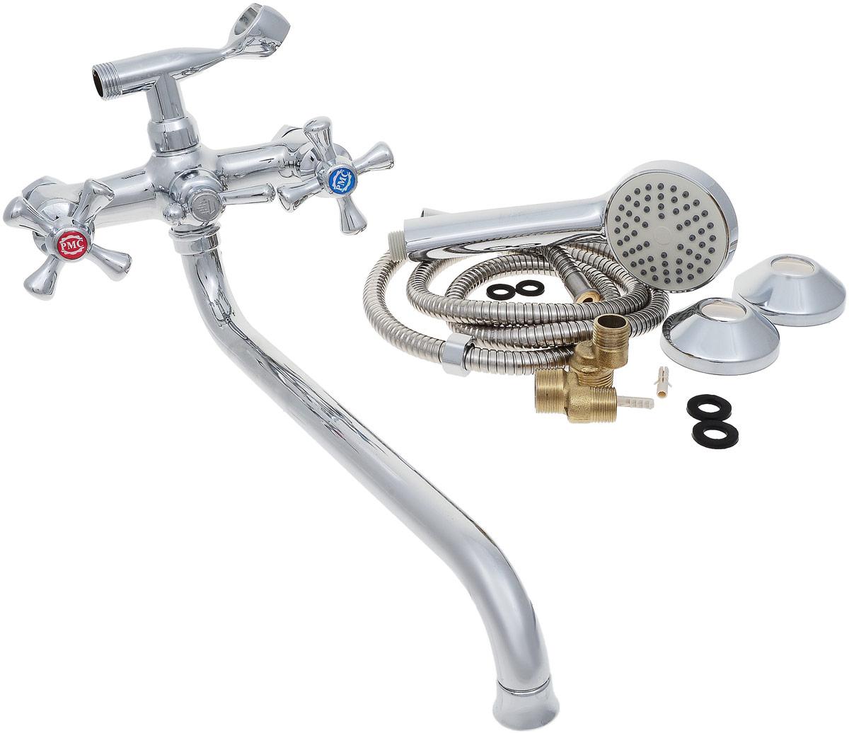 Смеситель для ванны и душа РМС, с длинным изливом, цвет: хром. SL70-143SL55-004FB-15/SL55-004F-15Двуручковый смеситель для ванной комнаты РМС предназначен для смешивания холодной и горячей воды. Выполнен из высококачественной латуни повышенной прочности, устойчивой к коррозии. Кран-букса латунная с керамическими пластинами, угол поворота 180°. Оснащен длинным изливом. Переключение на душ - шаровое. Аэратор выполнен из пластика. В комплекте: эксцентрики, отражатели, металлический шланг для душа 1,5 м, лейка для душа.Максимальное давление: 10 бар.Испытательное давление: 16 бар.Рекомендуемое давление: 1-5 бар, при давлении выше 6 бар рекомендуется использовать регулятор давления.Максимально допустимая температура: +80°С.Рекомендуемая температура: +65°С.Размер присоединения к угловому вентилю для умывальника: гайка 1/2.Кран-букса керамическая: 1/2.Длина излива: 35 см.
