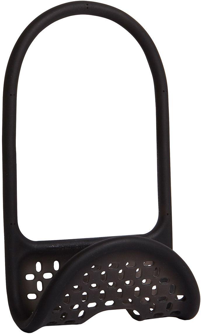 Органайзер для раковины Umbra Sling, цвет: черный21395599Уникальный органайзер для раковины из металлической проволоки с пластиковым покрытием. Ручка удобно гнётся и позволяет вешать органайзер на водопроводный кран или боковую сторону раковины.Подходит для хранения губок, щёток и прочих приспособлений для чистки и мытья. Перфорация даёт воздуху свободно циркулировать, поэтому губки и щётки будут сохнуть быстрее. Дизайнеры Eugenie de Loynes и Jordan Murphy