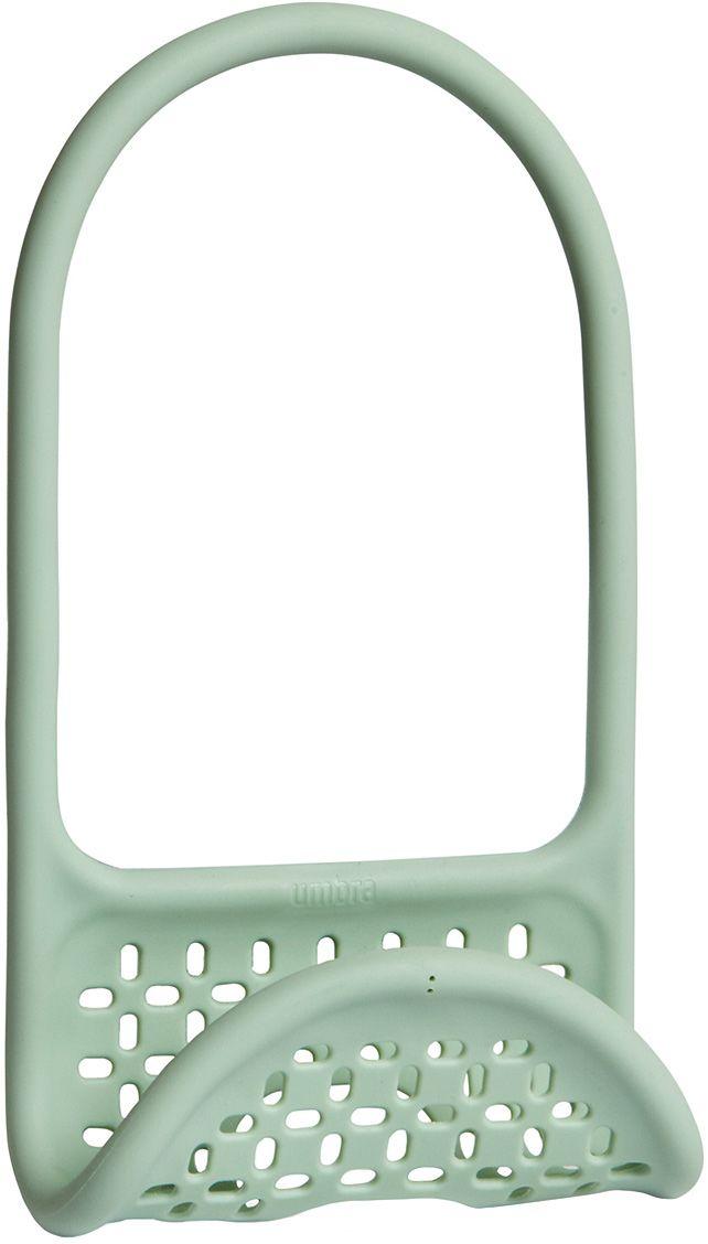 Органайзер для раковины Umbra Sling, цвет: мятныйVT-1520(SR)Уникальный органайзер для раковины из металлической проволоки с пластиковым покрытием. Ручка удобно гнётся и позволяет вешать органайзер на водопроводный кран или боковую сторону раковины.Подходит для хранения губок, щёток и прочих приспособлений для чистки и мытья. Перфорация даёт воздуху свободно циркулировать, поэтому губки и щётки будут сохнуть быстрее. Дизайнеры Eugenie de Loynes и Jordan Murphy