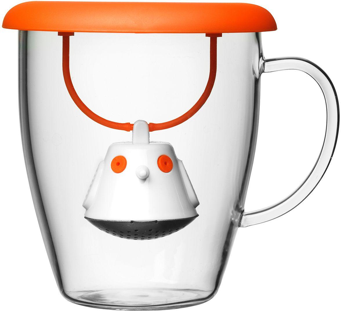 Кружка QDO Birdie Swing Nest, с емкостью для заваривания чая, цвет: оранжевый54 009312Кружка с необычной емкостью для заваривания чая в виде птички. Снабжена крышкой для кружки, с помощью которой можно быстро и безопасно приготовить любимый напиток. Одним легким движением откройте стальной фильтр, наполните его необходимым количеством чайных листьев, так же легко закройте и поместите в горячую воду. Крышка не только поможет чаю завариться быстрее, но и убережет ваши пальцы от возможного нагревания. Когда чай готов, просто поднимите крышку, переверните и положите на стол. Вся жидкость с заварника будет стекать в нее, как в поднос - очень удобно.