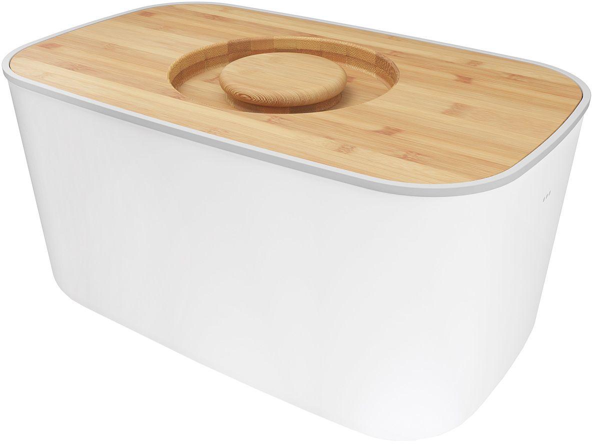 Хлебница Joseph Joseph, с разделочной доской, цвет: белыйSC-FD421004Компактная стальная хлебница с бамбуковой крышкой и нескользящими ножками. Благодаря материалу, из которого изготовлена хлебница, батоны и багеты подолгу остаются свежими и не впитывают посторонние запахи. Кроме того, такую хлебницу очень легко мыть, а сам материал исключает появление трещин и царапин на поверхности изделия. Крышку можно также использовать как доску для резки – эта удобная задумка помогает сэкономить пространство на кухне. Специальные углубления внутри доски не позволят хлебным крошкам высыпаться на рабочую поверхность.Основу можно мыть в посудомоечной машине. Для крышки рекомендовано только ручное мытье и сушка.