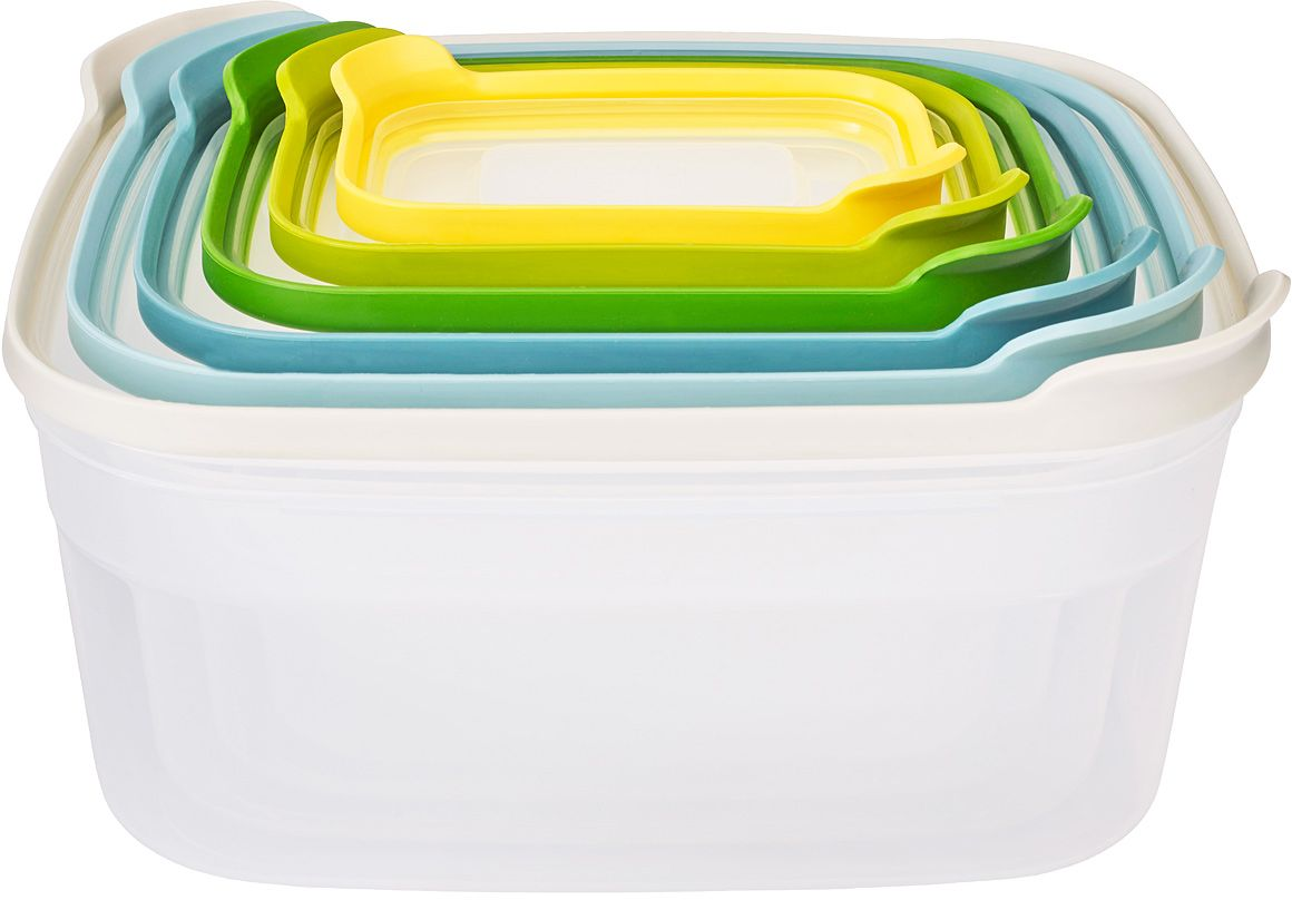 Набор контейнеров для хранения продуктов Joseph Joseph Nest 6. ОпалVT-1520(SR)Компактный набор из 6 контейнеров для хранения. Бестселлер от Joseph Joseph в новой цветовой гамме.Как известно, обычные ёмкости для хранения продуктов, когда не используются, занимают очень много ценного пространства в кухонном шкафу. Крышки и контейнеры часто теряются или не соответствуют друг другу по размеру. Наборы Nest™ представляют собой удачное решение этой проблемы. Продуманный дизайн позволяет хранить контейнеры, занимая минимум места на полке.Контейнеры Nest™ легко складываются друг в друга и оснащены крышками с цветовой маркировкой для быстрого и удобного поиска.Все составляющие наборов подходят для хранения продуктов в холодильнике и для разогрева обеда в микроволновой печи. Не содержат ВРА (Бисфенол).