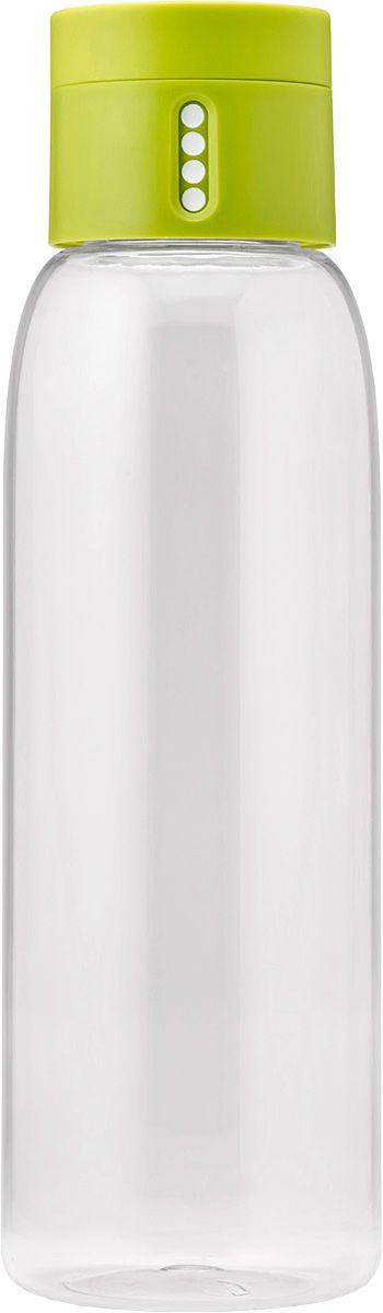 Бутылка для воды Joseph Joseph Dot, цвет: зеленый, 600 млVT-1520(SR)Бутылка для воды Joseph Joseph Dot- уникальная бутылка, которая поможет вам контролировать ежедневное потребление воды. Инновационная крышка со счетчиком запомнит каждое наполнение бутылки в течение дня. Просто закрутите крышку до появления точки, а для питья используйте верхнюю крышку. Новая точка появится каждый раз, когда бутылка заново заполнена и крышка закручена. Из гладкого литого носика бутылки удобно пить, а широкое горлышко идеально для насыпания льда и мытья. Герметичная крышка надежно защитит содержимое от вытекания. Бутылка изготовлена из экологичного и ударопрочного материала Tritan.Объем - 600 мл.