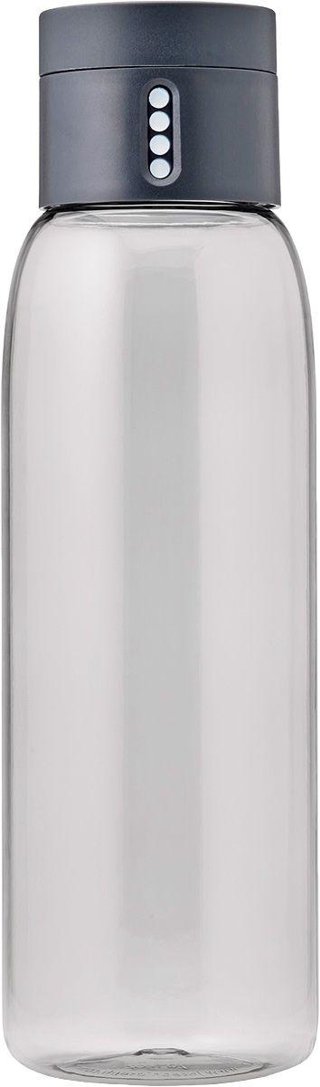 Бутылка для воды Joseph Joseph Dot, 600 мл, цвет: серыйVT-1520(SR)Уникальная бутылка, которая поможет вам контролировать ежедневное потребление воды. Инновационная крышка со счетчиком запомнит каждое наполнение бутылки в течение дня. Просто закрутите крышку до появления точки, а для питья используйте верхнюю крышку. Новая точка появится каждый раз, когда бутылка заново заполнена и крышка закручена. Из гладкого литого носика бутылки удобно пить, а широкое горлышко идеально для насыпания льда и мытья. Герметичная крышка надежно защитит содержимое от вытекания. Бутылка изготовлена из экологичного и удапрочного материала Tritan.Объем - 600 мл.