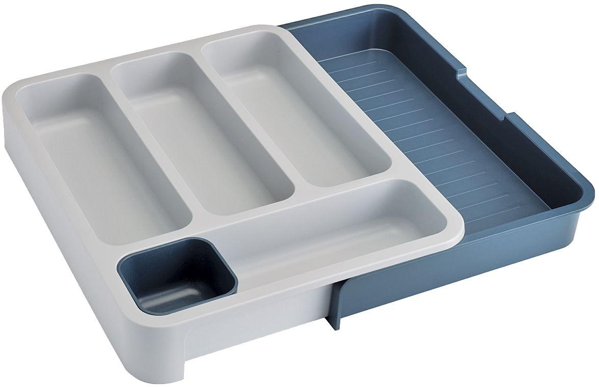 Органайзер для столовых приборов Joseph Joseph DrawerStore, раздвижной, цвет: серый702890Органайзер для столовых приборов Joseph Joseph DrawerStore выполнен из прочного пластика. С ним ваши столовые приборы всегда будут на своем месте. Органайзер имеет 4 вытянутые ячейки для столовых и чайных ложек, вилок и ножей, а также отдельный лоток для мелких насадок и кухонных принадлежностей. Органайзер раскладывается. Выдвижная секция создает дополнительное пространство для хранения крупных приборов, таких как лопатки, венчики, шумовки. Благодаря своим размерам органайзер удобно впишется в стандартный кухонный выдвижной ящик. Замечательный органайзер-лоток для хранения столовых приборов поможет навести на кухне полный порядок и расставить все по местам.Минимальный размер: 29 х 38 х 5,5 см.Максимальный размер: 48 х 38 х 5,5 см.