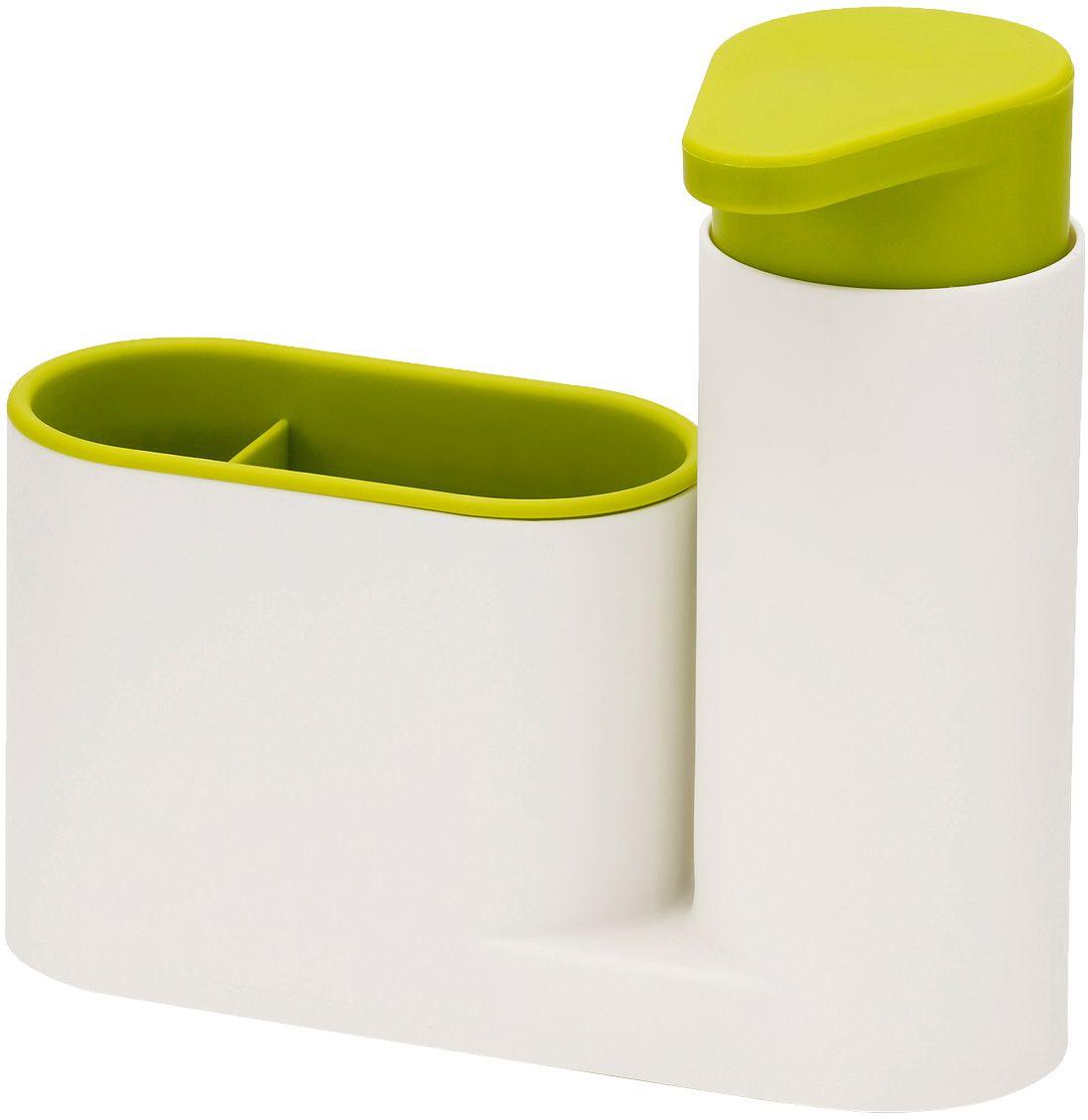 Органайзер для раковины Joseph Joseph SinkBase, с дозатором для мыла, цвет: белый, зеленый85081Функциональный набор для организации пространства на кухонной раковине. Набор состоит из удобного дозатора для жидкого мыла и подставки с двумя отделениями для щеток и губок. Благодаря компактному дизайну органайзер может быть размещен даже на узкой стороне раковины.Рекомендуется мыть только вручную.
