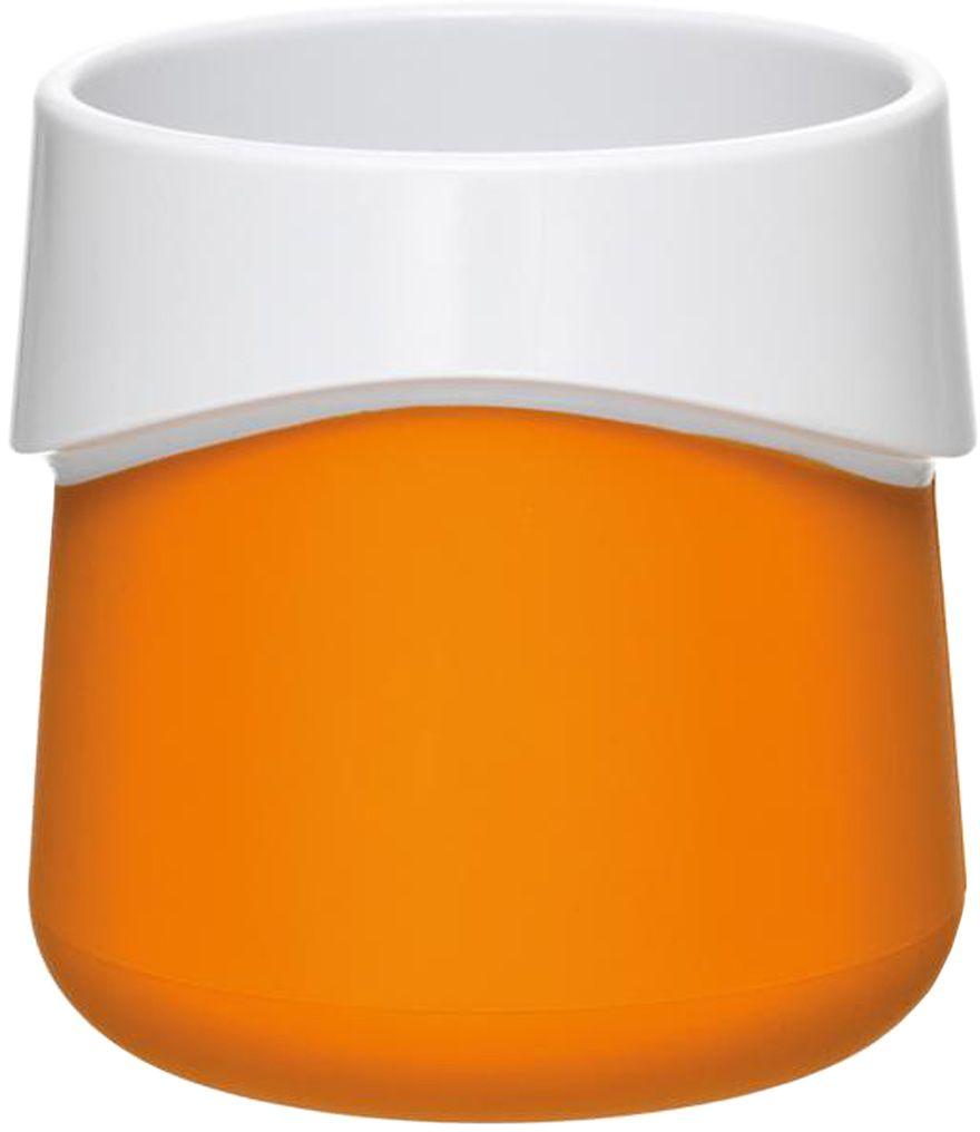 Кружка для малыша Fabrikators, цвет: оранжевый115510Кормление без суеты и мелких неприятностей. Кружка для малыша не скользит и надежно держится на поверхности стола благодаря дополнительному весу в нижней части. Кружку удобно захватывать за специальный ободок вокруг чашки. Посуда не содержит бисфенол-А