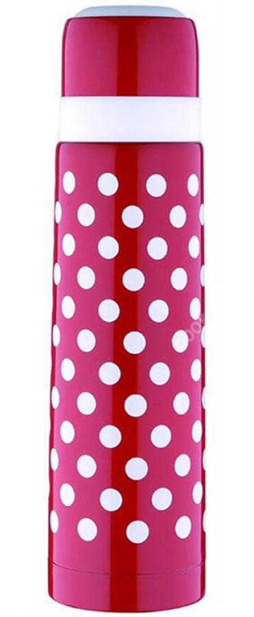 Термос Wellberg, цвет: красный, 750 мл. 9435 WB115510Термос с узким горлом Wellberg, изготовленный из высококачественной нержавеющей стали и пластика, оформлен принтом в горох. Изделие является простым в использовании, экономичным и многофункциональным. Термос с двойными стенками предназначен для хранения горячих и холодных напитков (чая, кофе). Пробка с кнопкой удобна в использовании и позволяет, не отвинчивая ее, наливать напитки после простого нажатия. Изделие также оснащено крышкой-чашкой. Легкий и прочный термос Wellberg сохранит ваши напитки горячими или холодными надолго. Высота (с учетом крышки): 29 см.Диаметр горлышка: 4,5 см.