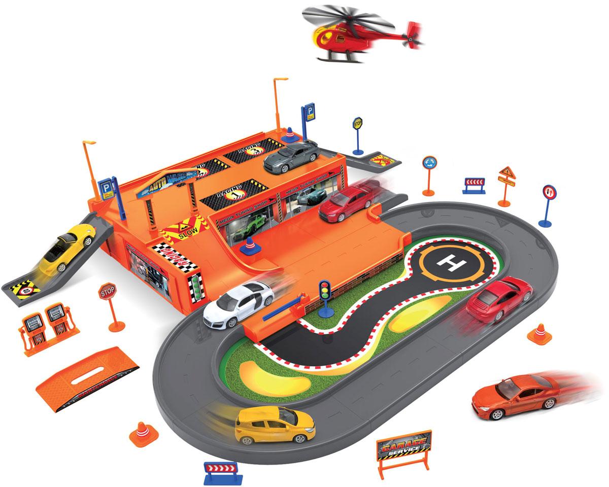 Welly Игровой набор Гараж с 3 машинами и вертолетом 96030